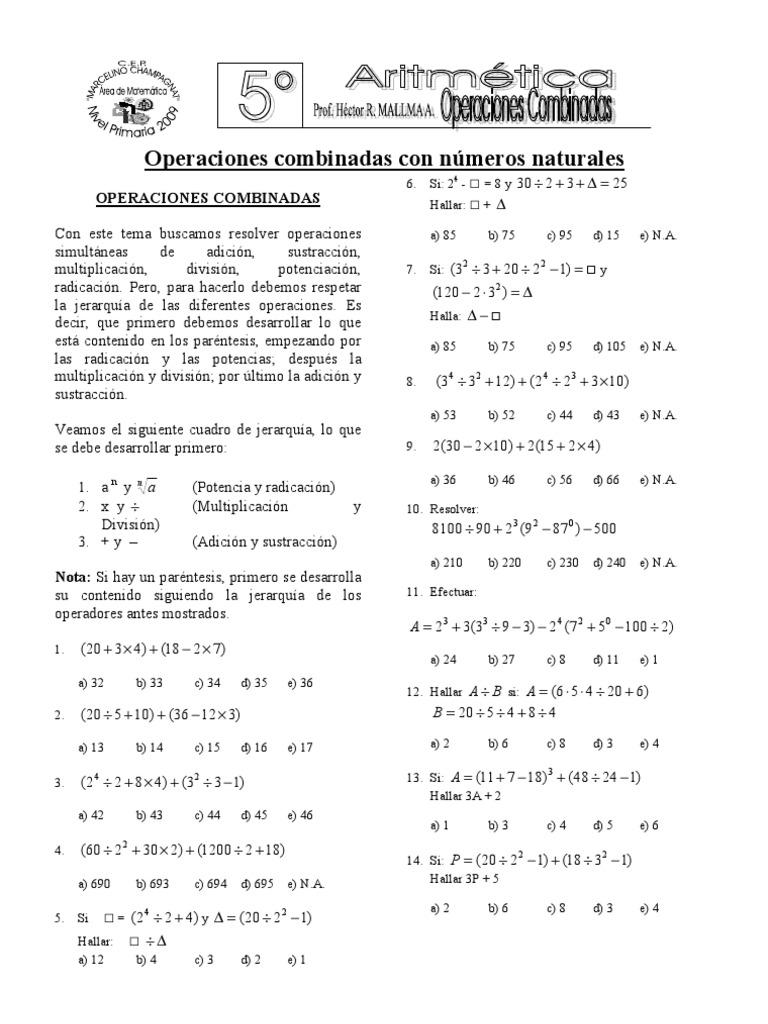 Operaciones combinadas con Números Naturales 5°grado
