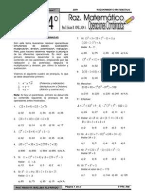 Operaciones combinadas en N 4° grado   Resta   Aritmética