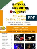 festival Rencontre Des Cultures 2013 - Dossier de Presse