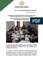 Boletin de Prensa 022 - 2013- II Encuentro de Investigadores Pre Seleccionados