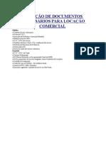 RELAÇÃO DE DOCUMENTOS NECESSÁRIOS PARA LOCAÇÃO COMERCIAL