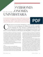 Cuatro Verisiones de Autonomia Universitaria
