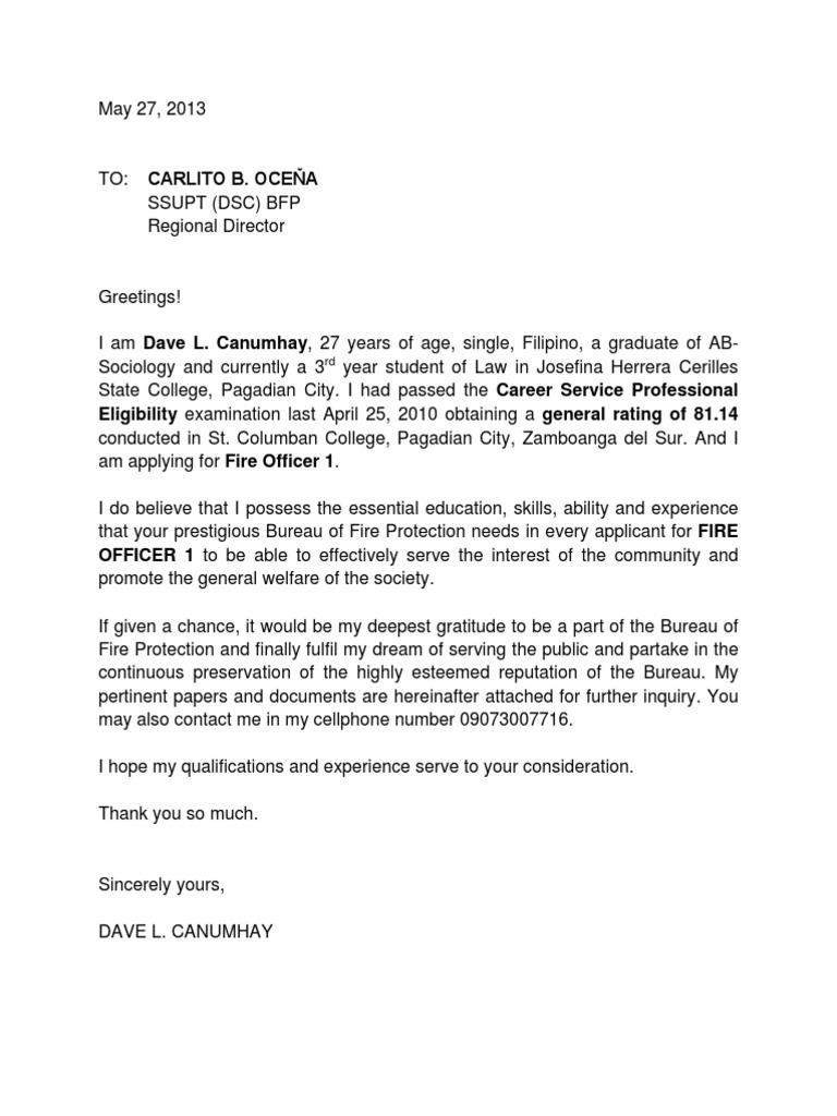 Application letter for fire aljukfo Images