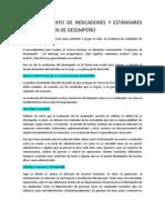 ESTABLECIMIENTO DE INDICADORES Y ESTÁNDARES DE EVALUACIÓN DE DESEMPEÑO