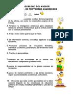 Decalogo Del Asesor de La Oficina de Proyectos Academicos 2