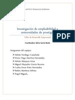 Inv. Empleabilidad en México y las carreras y universidades con mayor prestigio.