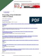 Proceeding of the ICSSR-2013 WorldConferences.net