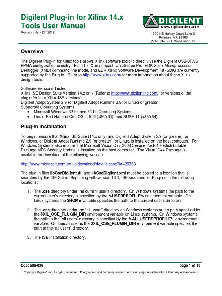 Digilent Plug-In Xilinx v14 | Microsoft Windows | Directory (Computing)