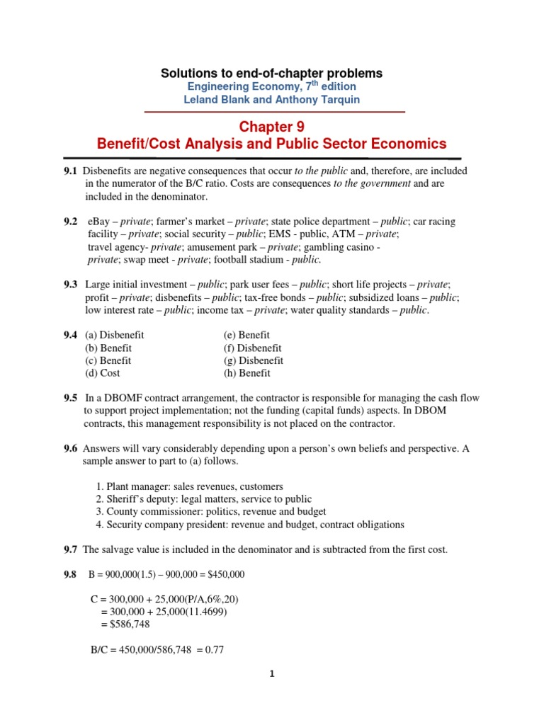 Chapter 9 Solutions - Engineering Economy 7 th edition. Leland Blank and  Anthony Tarquin