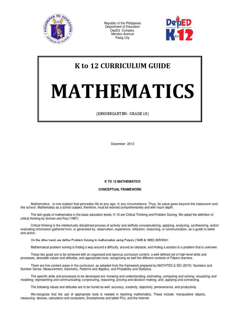Worksheet Grade 1 Math Curriculum k 12 mathematics curriculum guide complete