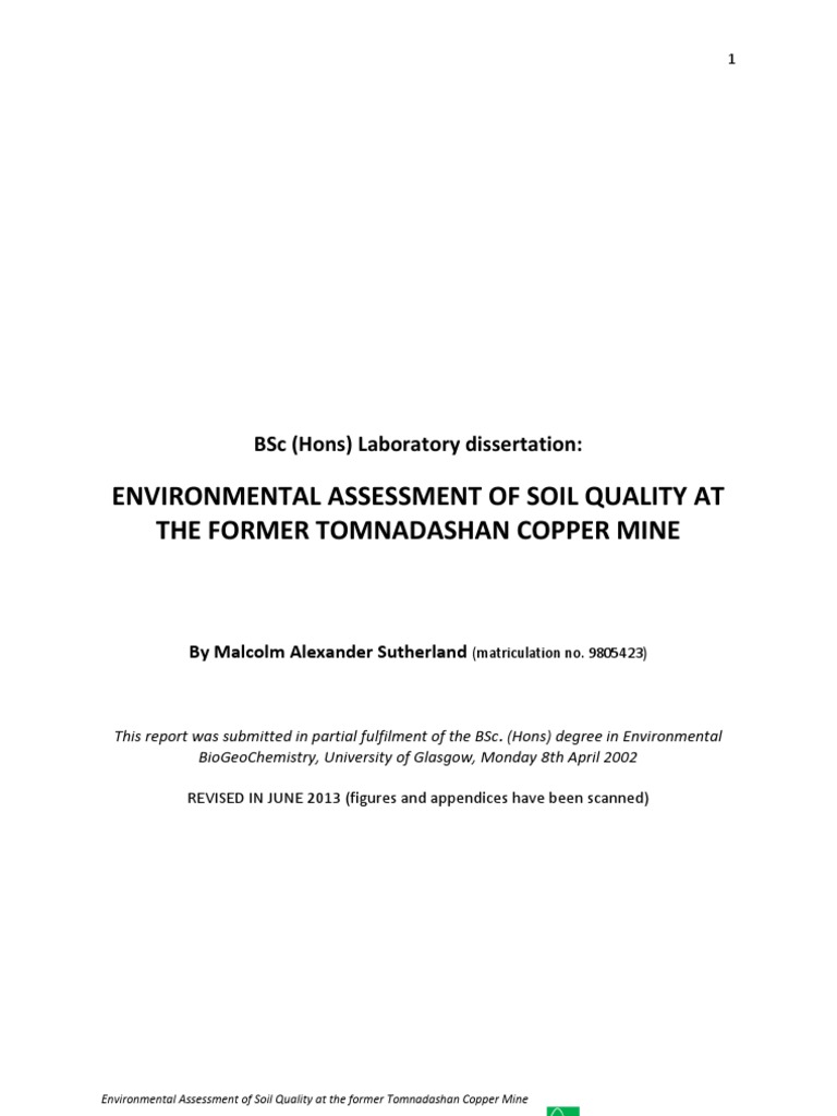 Bsc dissertation environmental assessment of soil quality for Soil quality pdf
