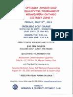 Optimist Junior Golf Tournament Flyer 2013