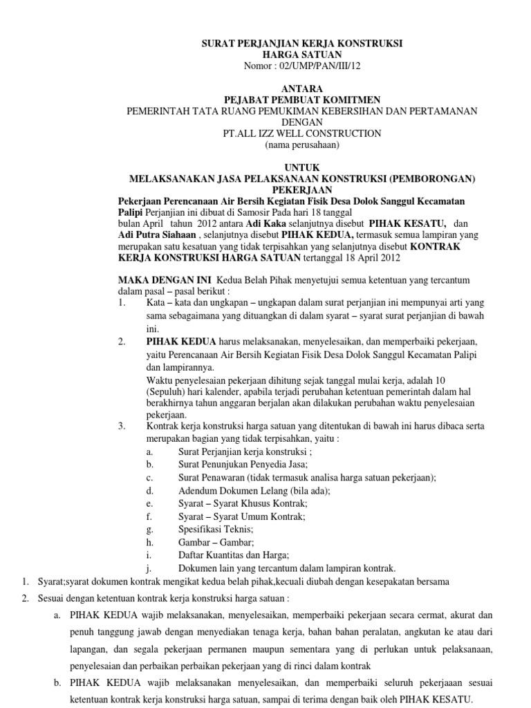 Surat Perjanjian Kerja Konstruksi