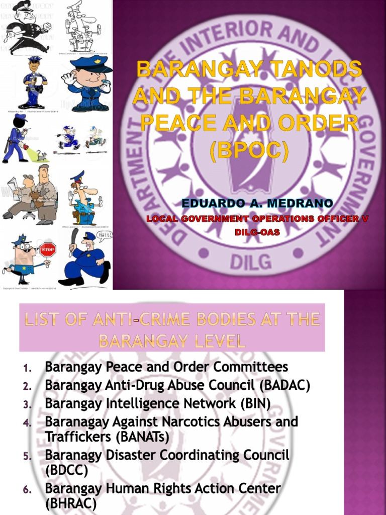 barangay peace and order 7 peace and order and public safety planning guidebook list of tables create a barangay peace and order committee (bpoc) as the implementing arm of the.