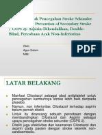 Cilostazol Untuk Pencegahan Stroke Sekunder (Cilostazol for Prevention of Secondary Stroke CSPS 2) Aspirin-Dikendalikan, Double-Blind,