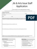Summer 2013 Life and Arts Application