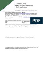 Summer 2013 Opinion Columnist Application