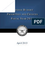 Defense Budget Priorities Choices Fiscal Year 2014