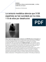 La censura mediática silencia que 3158 españoles se han suicidado por la crisis, 119 de ellos por desahucios _ UN ESPÍA EN EL CONGRESO