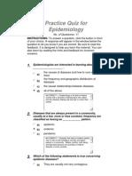 Practice Quiz for Epidemiology