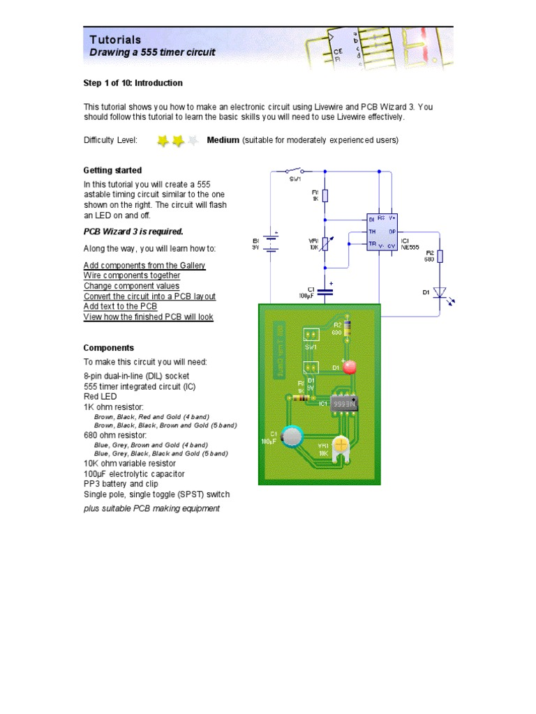 Tutorial 3 Drawing A 555 Timer Circuit Printed Board To Make Long Duration Electronic Projects Circuits