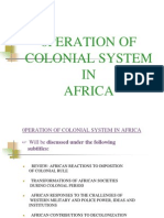 0peration of Colonial System in Africa