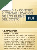 Unidad 4.- Control y Contabilizacion de Los Elementos Del Costo