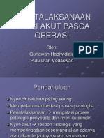 Penatalaksanaan Nyeri Akut Pasca Operasi