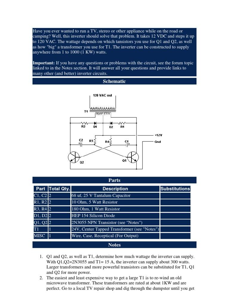 Conversor 12vv Para 110v Power Inverter Supply Help With Npn Transistor Relay Circuit Electronics Forum Circuits