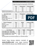 Sample Perbandingan Harga - 5 Sept 2012