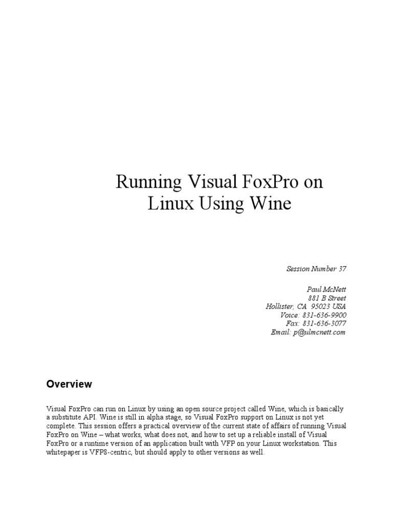 Vfp Wine Whitepaper | Windows Registry | Linux