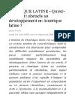 Qu'est-ce qui fait obstacle au développement en Amérique latine