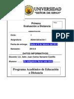 PRIMERA EVALUACIÓN A DISTANCIA - ADM I