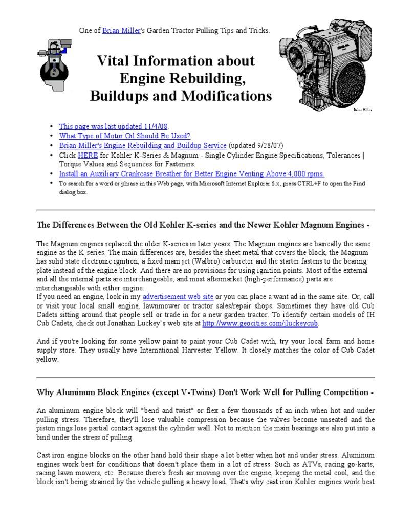Small Engine Rebuilding Guide   Carburetor   Internal Combustion Engine
