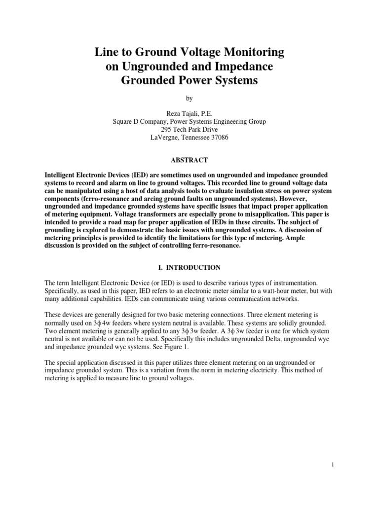LineToGroundVoltageMonitoring_08262005 | Transformer | Resistor