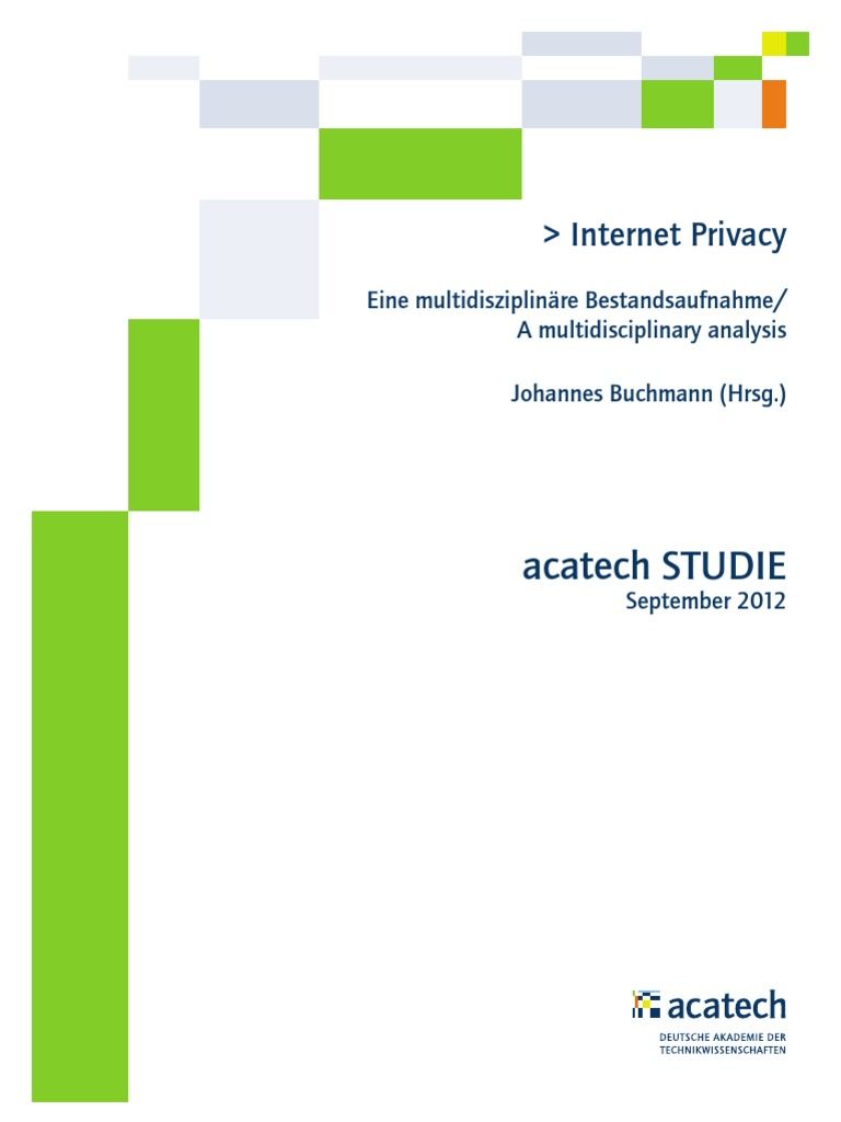 Acatech STUDIE Internet Privacy WEB   Information Privacy   Knowledge