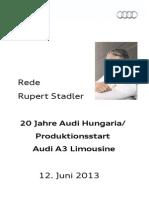 Rupert Stadler - 20 Jahre Audi Hungaria und Produktionsstart Audi A3 Limousine
