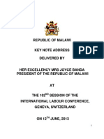 Ilo Address by the President of the Republic of Malawi