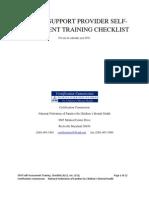 2011 Self Assessment Training Checklist