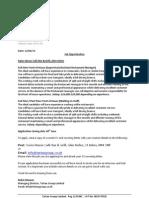 Job Opportunities Swiss House - June 2013