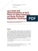 Synthesis and Characterization of ZnO Films on Glass Substrate via Spray Pyrolysis Deposition Technique.