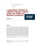 Computation of Power of a Motor in Electric Vehicle under City Traffic and Dynamic Conditions.