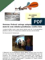 Governo Federal entrega máquinas do PAC a mais de cem cidades paraibanas; confira lista