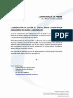 Quebec Soccer Federation press release