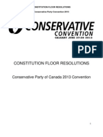 Constitutional Resolutions - 2013 Conservative Party of Canada Convention