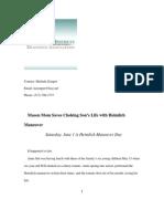 """""""Mason Mom Saves Choking Son's Life with Heimlich Maneuver -- Saturday, June 1 is Heimlich Maneuver Day"""" by Melinda Zemper, Heimlich Institute, 5/26/13 press release"""