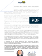 Carta de Julio León Prado presidente del Banco Bisa a la Comunidad Universitaria del Pais