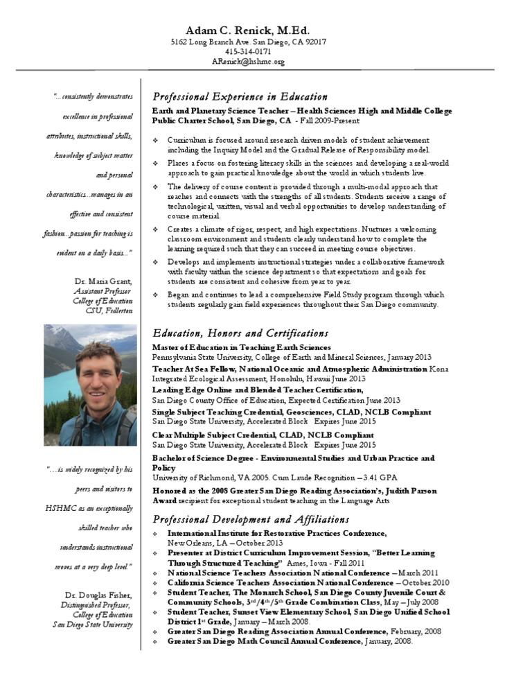 Adam Renick Resume 2013 | Professional Certification | Teachers