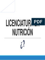 LICENCIATURA EN NUTRICiIÓN