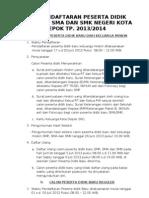 INFO PPDB Kota Depok 2013-2014  (Sementara)